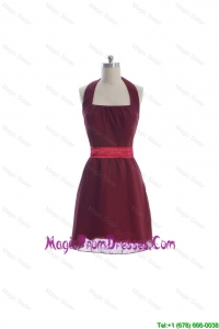 Simple Halter Top Belt Burgundy Short Prom Dresses