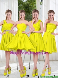 2016 Summer Simple One Shoulder Prom Dresses in Yellow Green