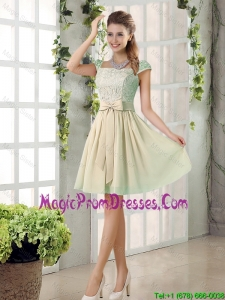 2016 Spring A Line Square Prom Dresses with Bowknot