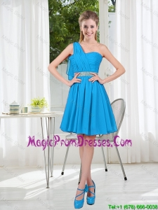 Affordable Short One Shoulder Prom Dress with Beading