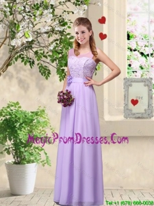 Comfortable Hand Made Flowers Prom Dresses with Lace