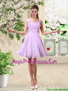 Exclusive Straps Beaded Prom Dresses with Mini Length