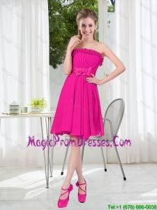 Summer A Line Strapless Short Prom Dresses with Bowknot