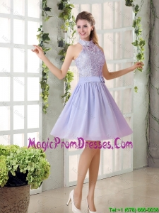 Beautiful A Line High Neck Lace Dress Dresses with Lavender