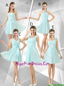 Beautiful A Line Ruched Prom Dresses in Light Blue