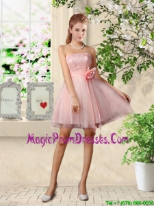 Beautiful Strapless Laced Prom Dresses with Hand Made Flowers