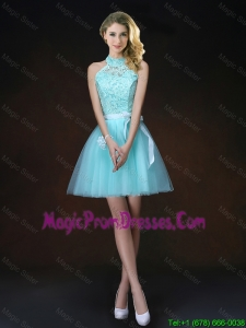 Elegant Halter Top Laced Prom Dresses with Appliques