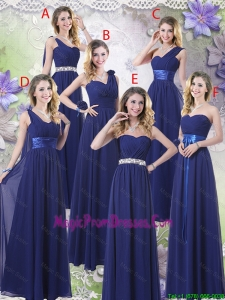 New Style Empire Floor Length Prom Dresses in Navy Blue