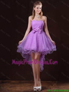Pretty Strapless Bowknot Prom Dresses with High Low