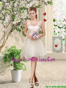 Romantic A Line Hand Made Flowers Prom Dresses in Champagne