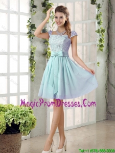 Romantic A Line Square Lace Prom Dresses with Bowknot