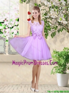 Romantic Bateau A Line Prom Dresses with Lace and Bowknot