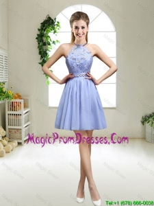 Pretty Lavender Halter Top Prom Dresses with Appliques for 2016