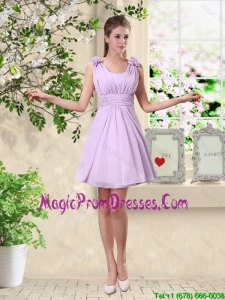 Romantic A Line Straps Prom Dresses with Hand Made Flowers