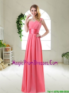 Romantic Watermelon Red Prom Dresses with One Shoulder