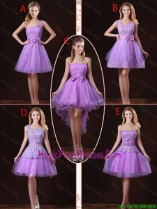 2016 Popular Laced Lilac Prom Dresses with A Line