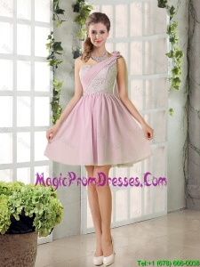 2016 Fall A Line One Shoulder Prom Dresses with Lace