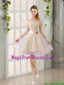 2016 Summer A Line Strapless Ruching Prom Dresses with Belt