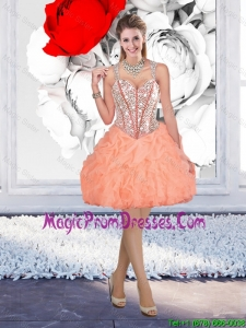 Beautiful Straps Beaded Prom Dresses with Mini Length in Orange