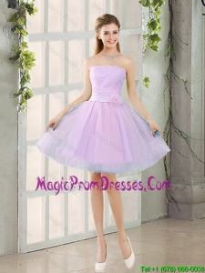Custom Made A Line Strapless Ruching Prom Dresses with Belt