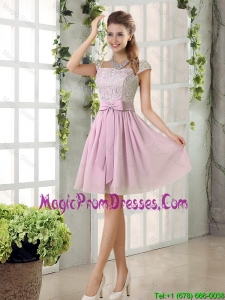 Popular A Line Square Lace Prom Dresses with Bowknot