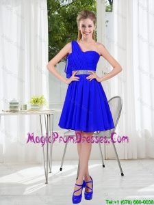 Custom Made One Shoulder Mini-length Prom Dresses in Royal Blue