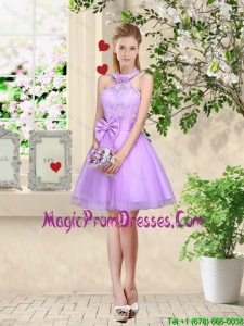 Feminine Halter Top Laced and Bowknot Prom Dresses in Lavender