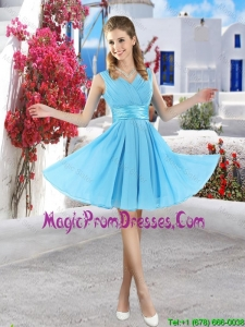Popular Mini Length 2016 Prom Dresses in Aqua Blue
