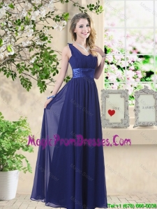 Wonderful Ruched Navy Blue Prom Dresses with V Neck