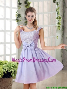 2015 Fall A Line Straps Lace Prom Dresses in Lavender