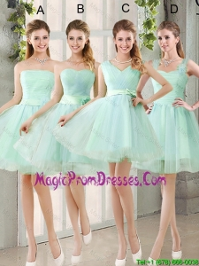 2016 Spring A Line Ruching Prom Dresses with Belt in Apple Green