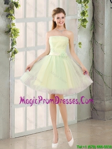 Custom Made A Line Strapless Tulle Prom Dresses with Belt