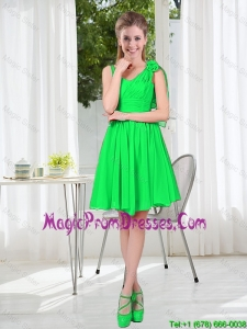 Elegant A Line Straps Green Prom Dresses with Hand Made Flowers