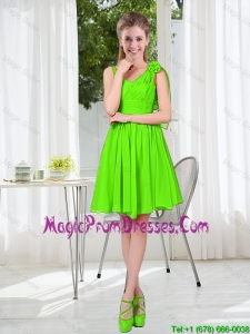 A Line Hand Made Flowers Prom Dresses in Spring Green