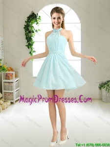 Cheap Halter Top Belt Light Blue Prom Dresses for 2016