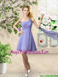 Cheap One Shoulder Ruched Prom Dresses in Lavender