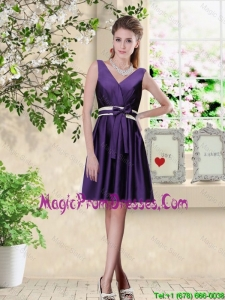 Discount V Neck Zipper Up Prom Dresses in Dark Purple
