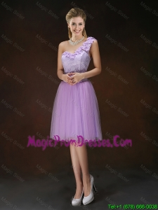 Fashionable One Shoulder Hand Made Flowers Prom Dresses