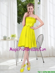 A Line Strapless Bowknot Custom Made Prom Dresses for Party