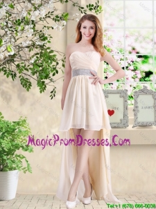 Affordable High Low Sweetheart Prom Gowns in Champagne