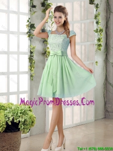 Affordable Square Lace Prom Dresses with Bowknot