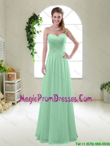 Comfortable Sweetheart Apple Green Prom Gowns with Ruching