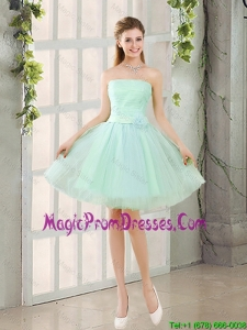 Custom Made A Line Strapless Prom Gowns with Belt