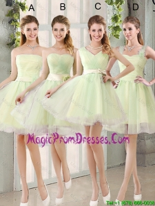 Custom Made Mini Length Prom Gowns in Yellow Green