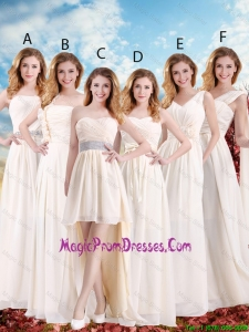 Elegant Empire Champagne Prom Gowns with Hand Made Flowers