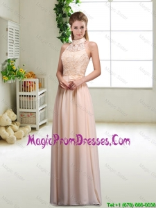 Elegant Laced and Bowknot Prom Gowns with Halter Top