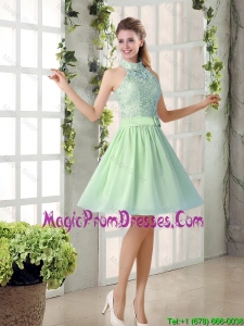 Fashionable 2016 Short Prom Gowns with High Neck
