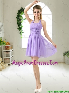 Modest Halter Top Hand Made Flowers Prom Gowns sses in Purple
