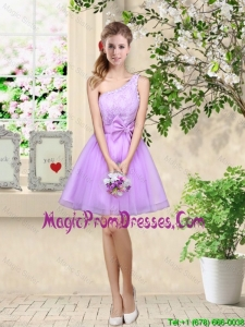 Popular A Line One Shoulder Laced Prom Gowns in Lavender