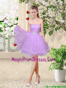 Simple A Line Strapless Lavender Prom Gowns with Belt